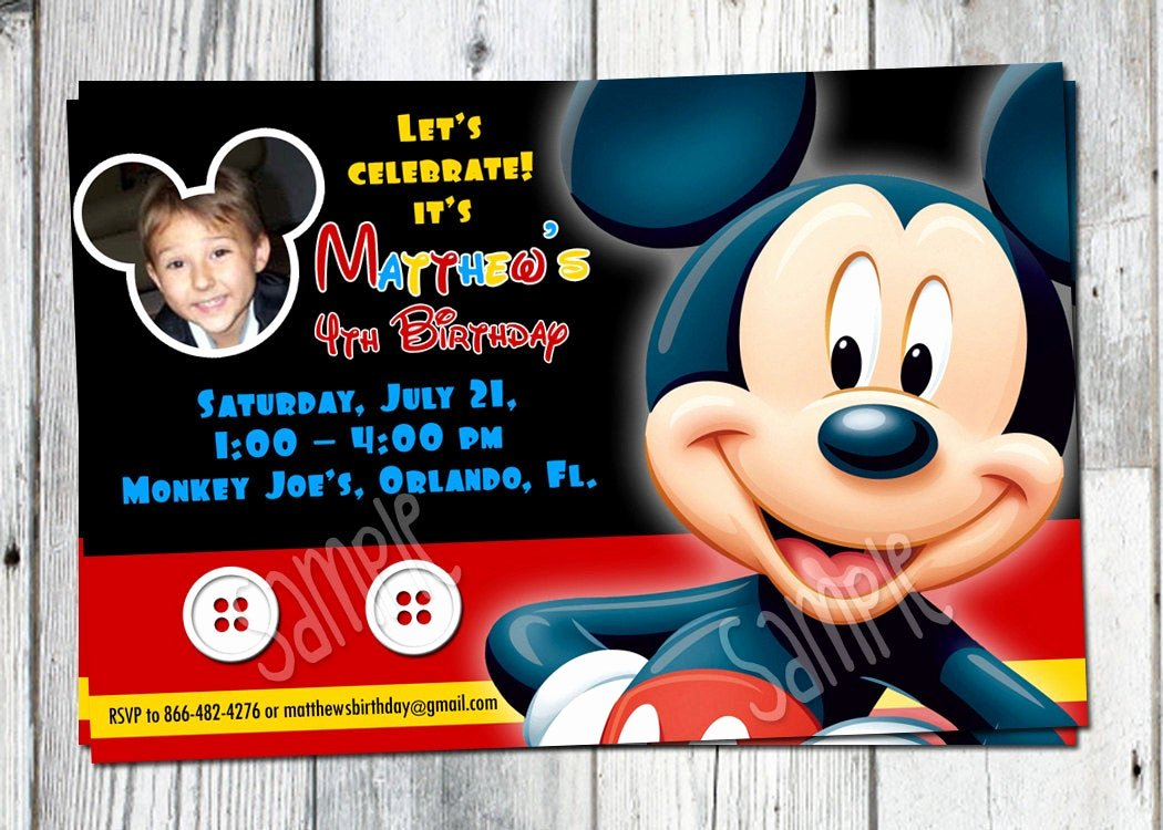 Mickey Mouse Birthday Invites Best Of Mickey Mouse Birthday Invitation Printable Boys Personalized