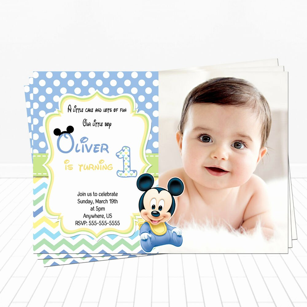 Mickey Mouse Birthday Invites Best Of Printed Baby Mickey Mouse 1st Birthday Invitations Mickey