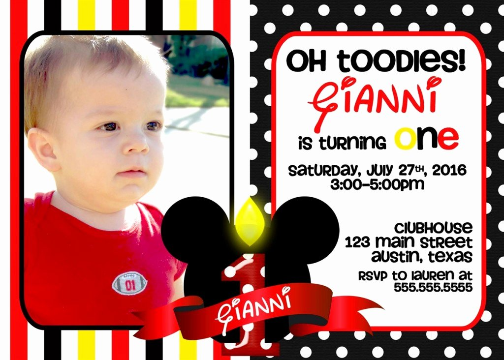 Mickey Mouse Birthday Invites Elegant Mickey Mouse 1st Birthday Invitations Ideas – Bagvania