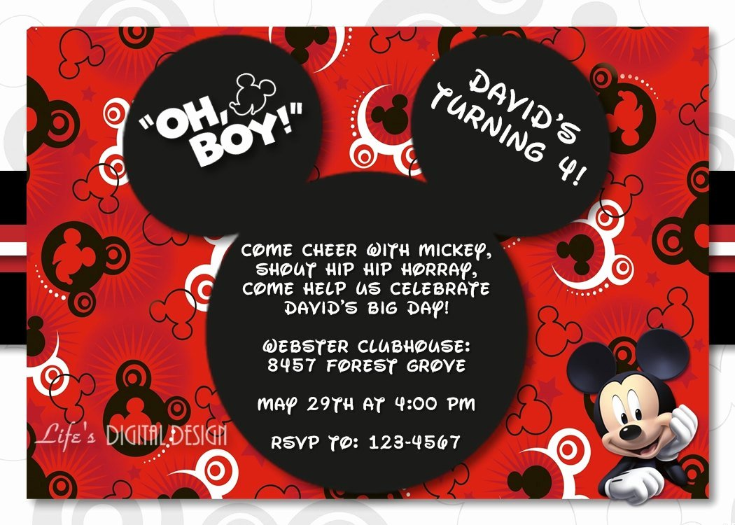 Mickey Mouse Birthday Invites Fresh Mickey Mouse 1st Birthday Invitations for Girls and Boys