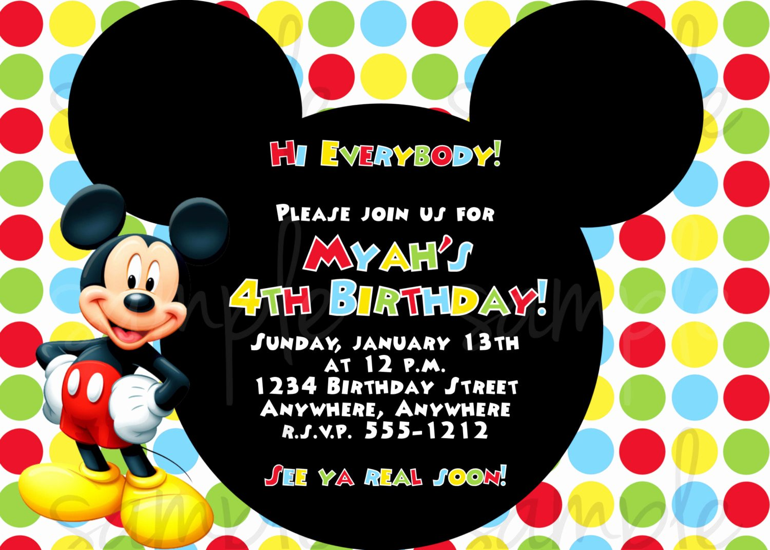 Mickey Mouse Birthday Invites Fresh Mickey Mouse Birthday Invitation