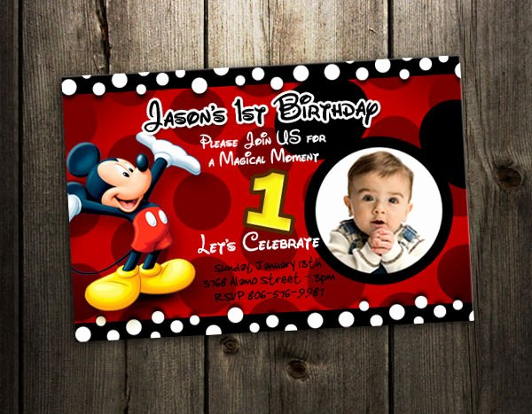 Mickey Mouse Birthday Invites Inspirational Mickey Mouse Birthday Invitation Party Card Photo Invites