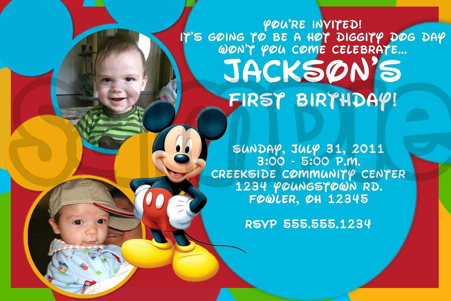 Mickey Mouse Birthday Invites Inspirational Mickey Mouse Birthday Invitations