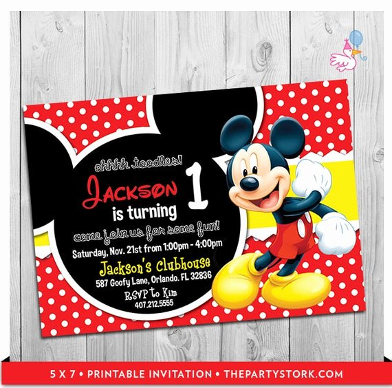 Mickey Mouse Birthday Invites Inspirational Mickey Mouse Party Invitations Printable Boy 1st Birthday