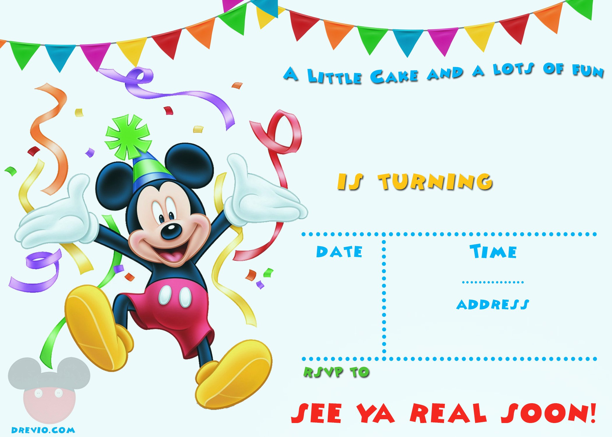 Mickey Mouse Birthday Invites Lovely Free Mickey Mouse 1st Birthday Invitations – Free