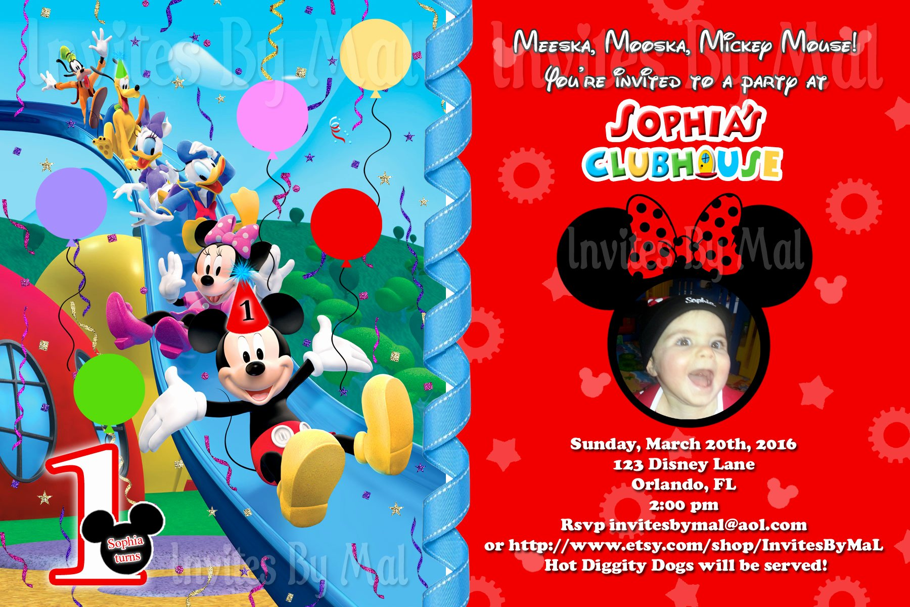 Mickey Mouse Birthday Invites Lovely Mickey Mouse 1st Birthday Invitations Free Invitation