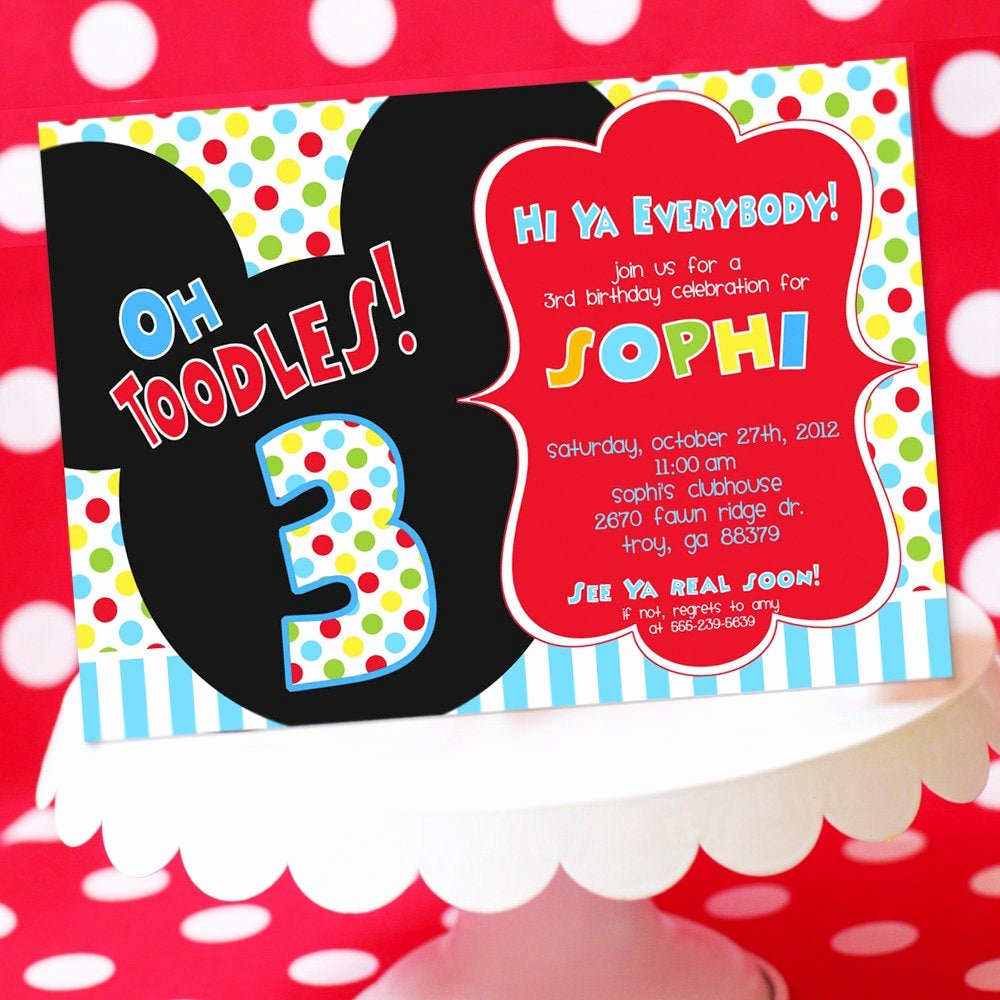 Mickey Mouse Birthday Invites Lovely Mickey Mouse Birthday Invitation Mickey by Amandaspartiestogo