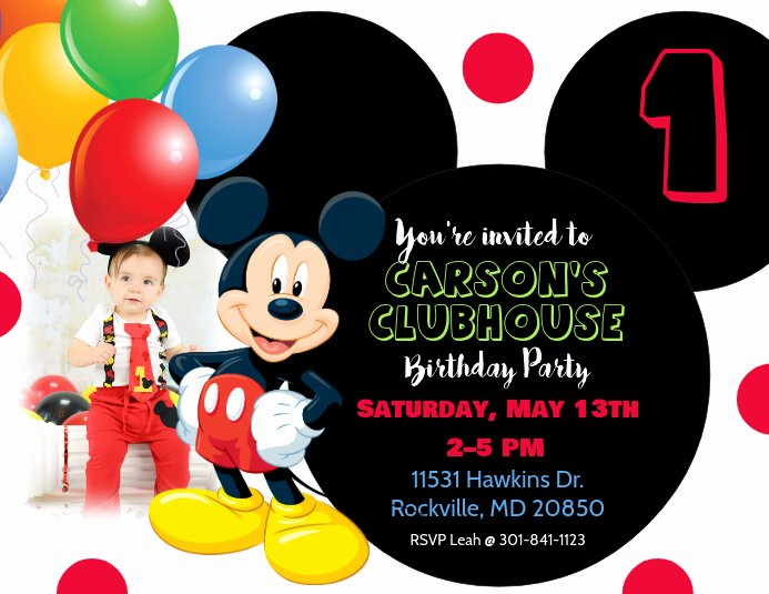 Mickey Mouse Birthday Invites Lovely Mickey Mouse Birthday Invitation Template
