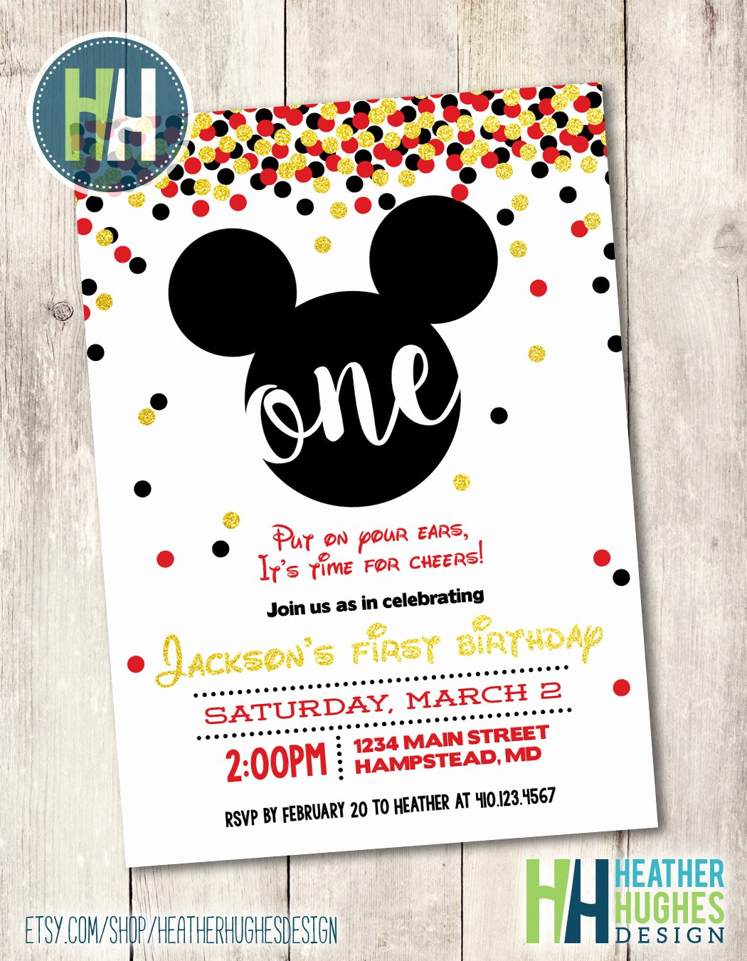 Mickey Mouse Birthday Invites New Mickey Mouse First Birthday Invite Boy 1st by