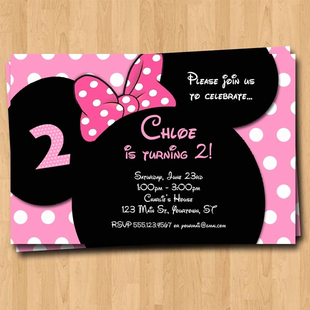 Mickey Mouse Birthday Invites New Minnie Mouse Birthday Invitation Party Invites Custom