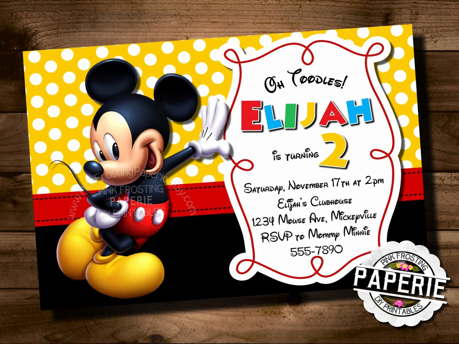 Mickey Mouse Birthday Invites Unique Mickey Mouse Birthday Invitation Mickey Mouse Clubhouse