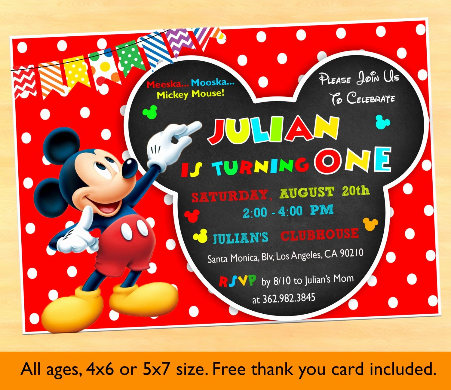 Mickey Mouse Birthday Invites Unique Mickey Mouse Clubhouse 1st Birthday Invitations Mickey Mouse