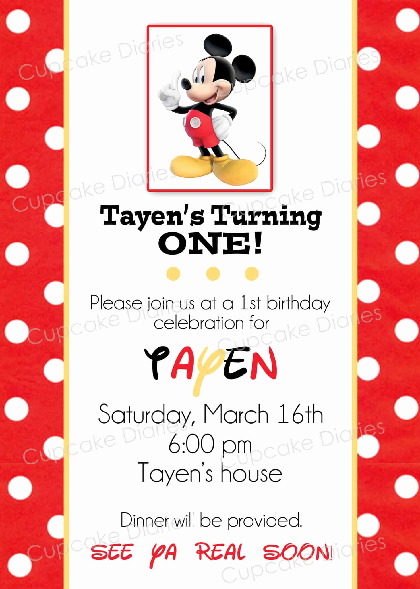 Mickey Mouse Birthday Invites Unique Simple Mickey Mouse Birthday Party Free Subway Art
