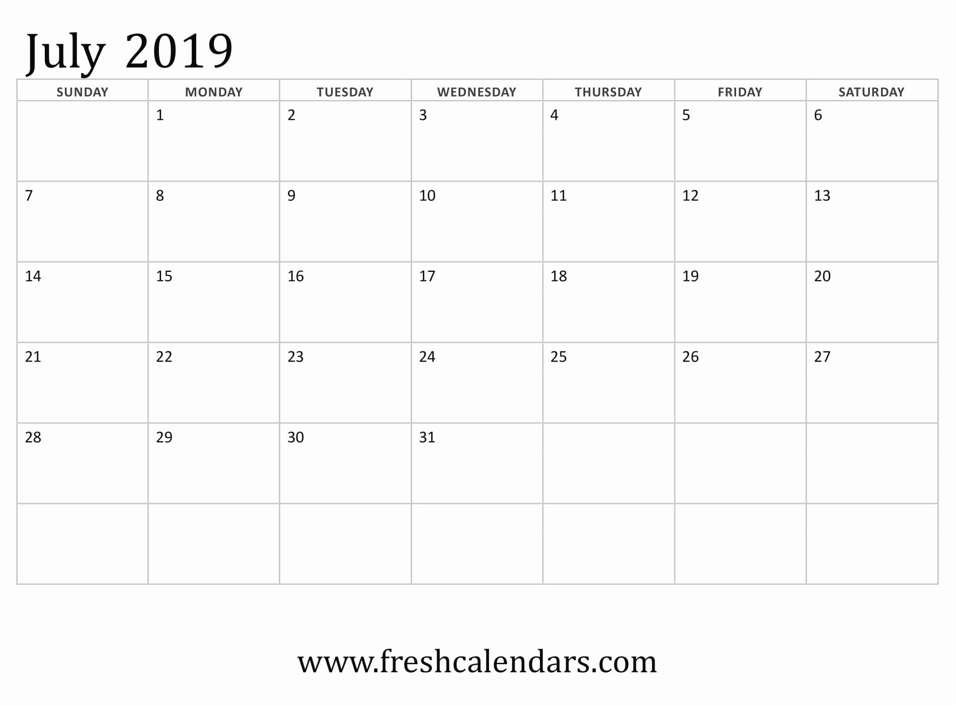 Microsoft Calendar Templates 2019 Awesome July 2019 Calendar Printable Fresh Calendars