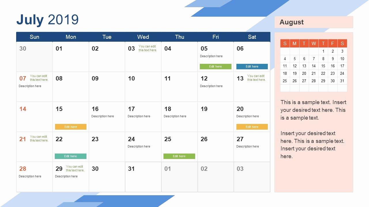 Microsoft Calendar Templates 2019 Beautiful 2019 Monthly Calendar Template Powerpoint
