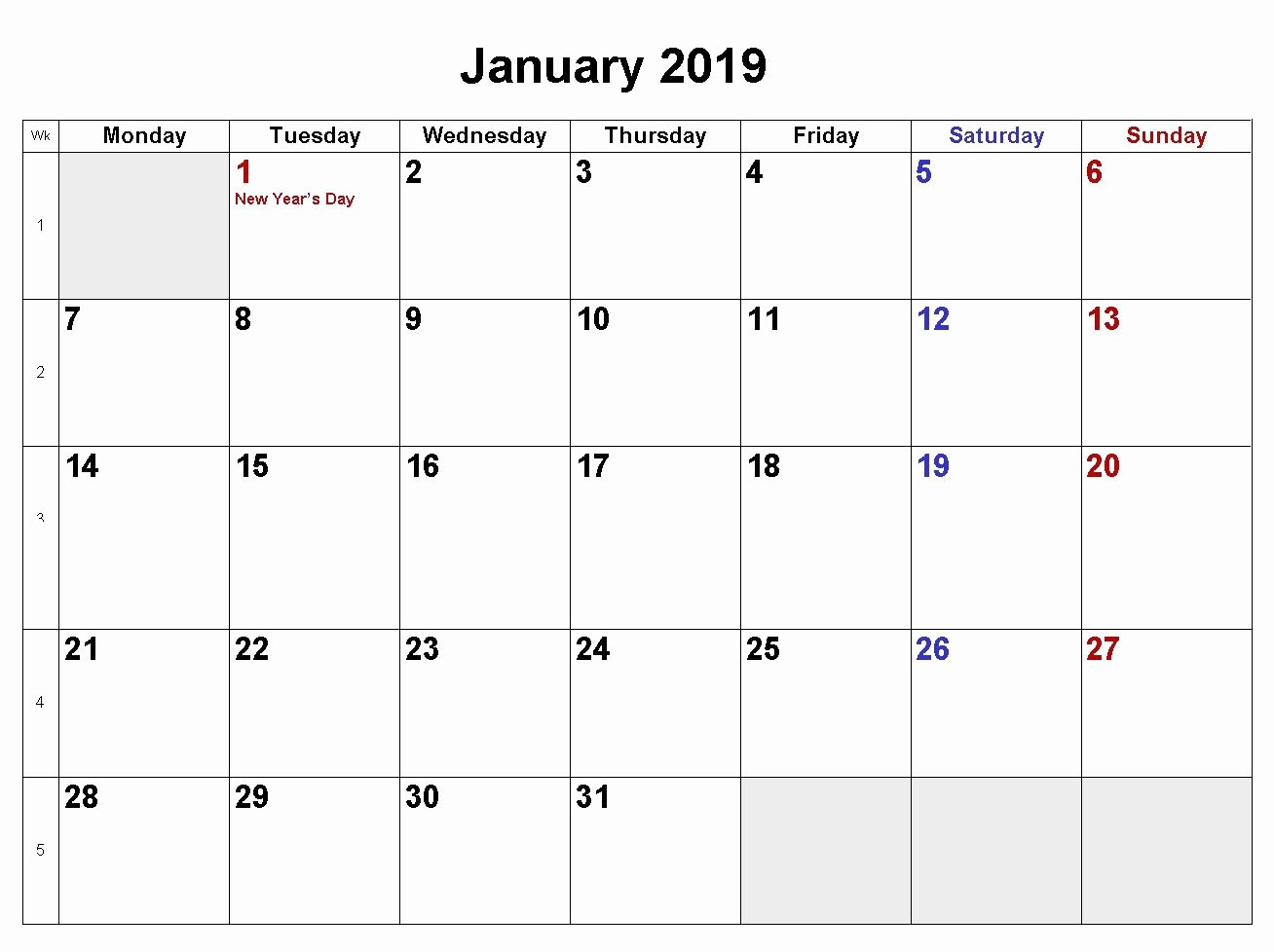 Microsoft Calendar Templates 2019 Elegant January 2019 Calendar Download In Word Excel Pdf formats