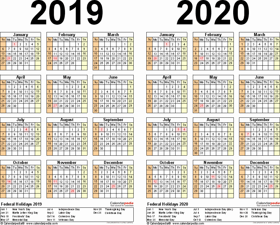 Microsoft Calendar Templates 2019 Fresh 2019 2020 Two Year Calendar Free Printable Word Templates