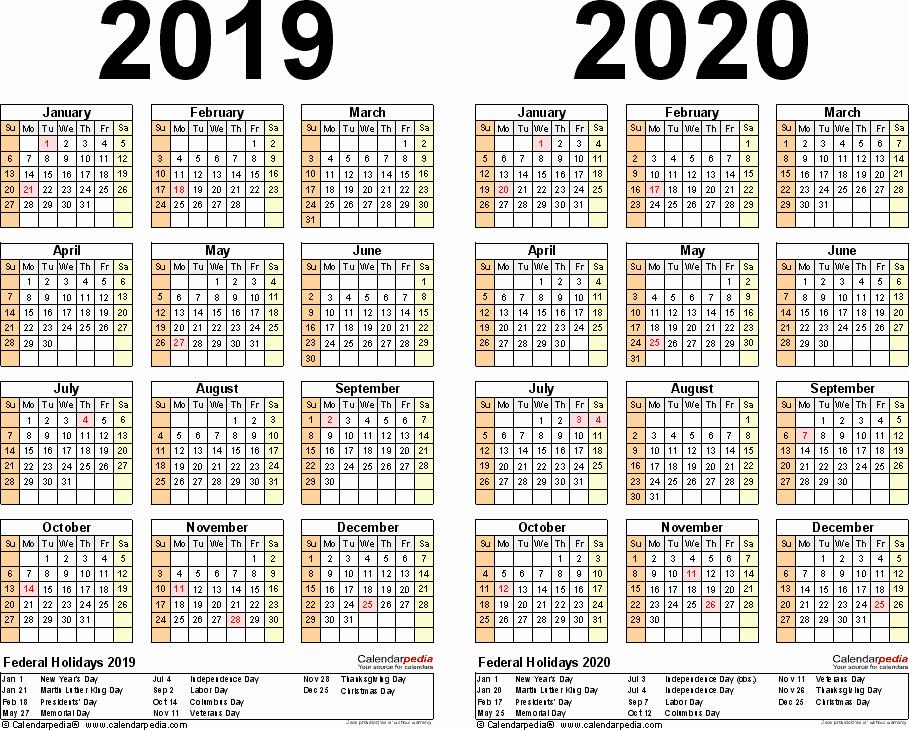 Microsoft Calendar Templates 2019 Fresh 2019 2020 Two Year Calendar Free Printable Word Templates