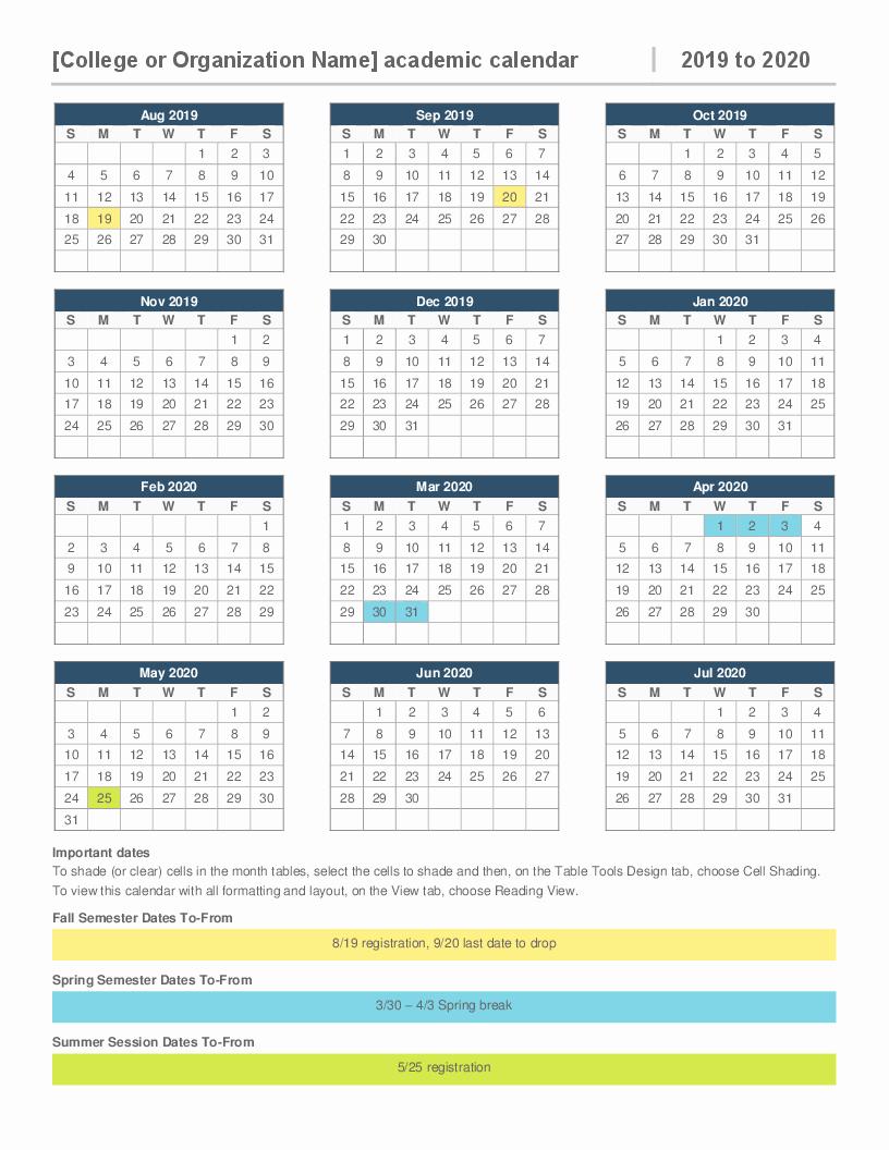 Microsoft Calendar Templates 2019 Luxury 2019 2020 Academic Calendar