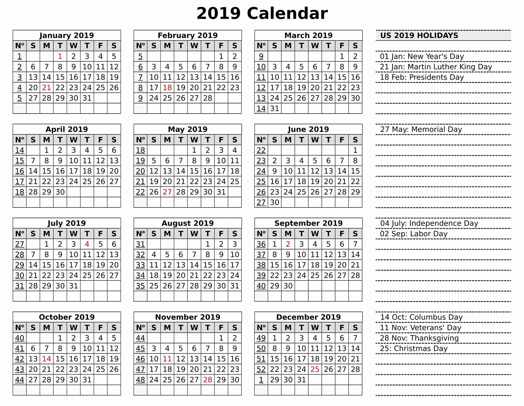Microsoft Calendar Templates 2019 Luxury Printable Calendar 2019 Excel Template