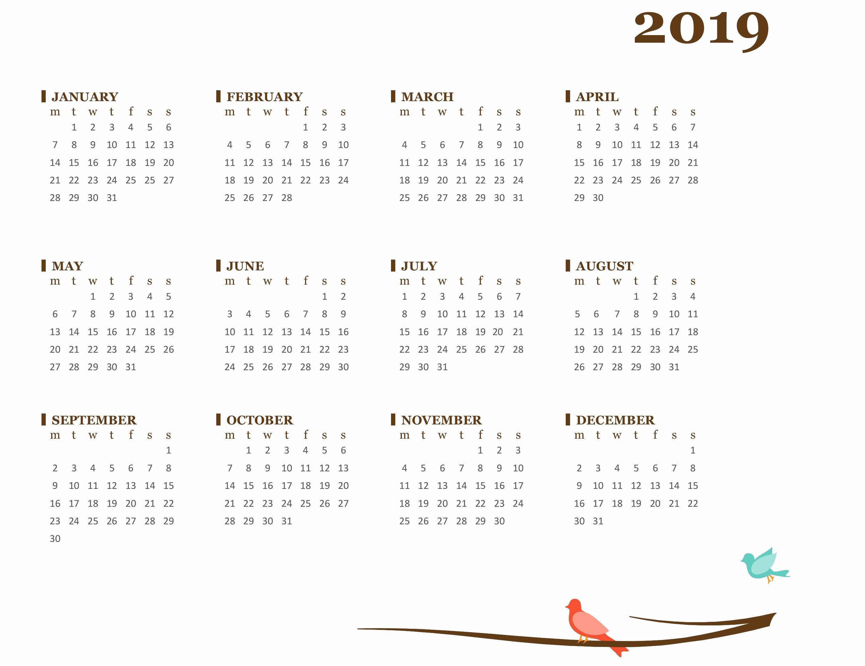 Microsoft Calendar Templates 2019 New 2019 Yearly Calendar Mon Sun