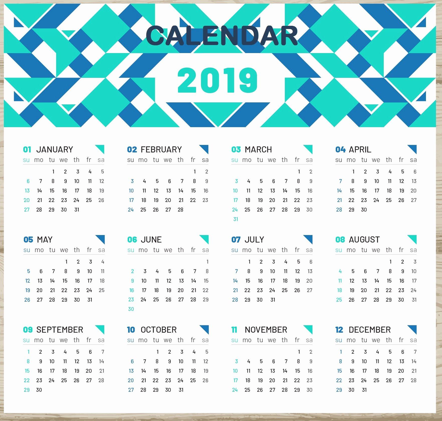 Microsoft Calendar Templates 2019 Unique 2019 Calendar with Week Numbers Printable
