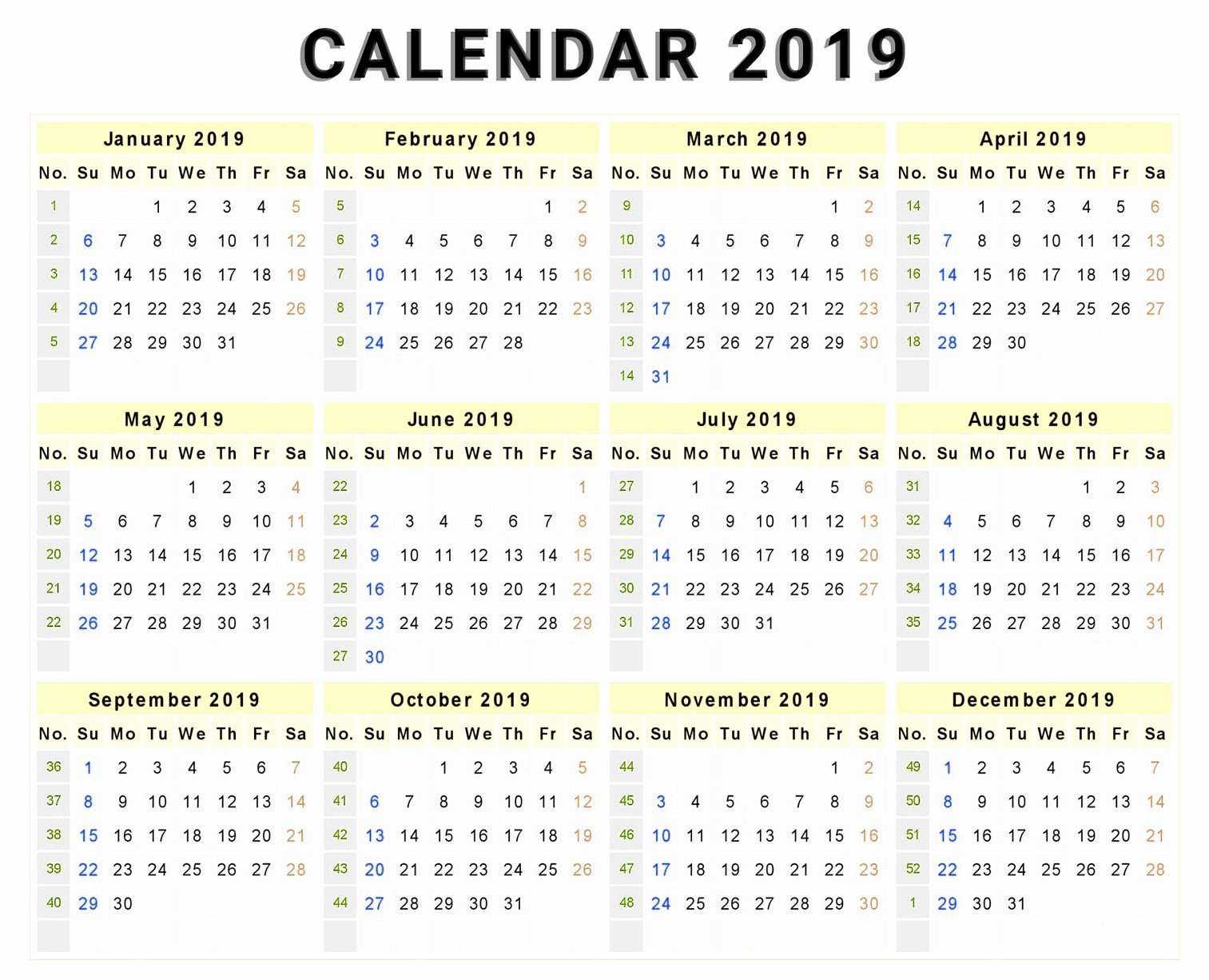 Microsoft Calendar Templates 2019 Unique 2019 Calendar Year at A Glance Printable
