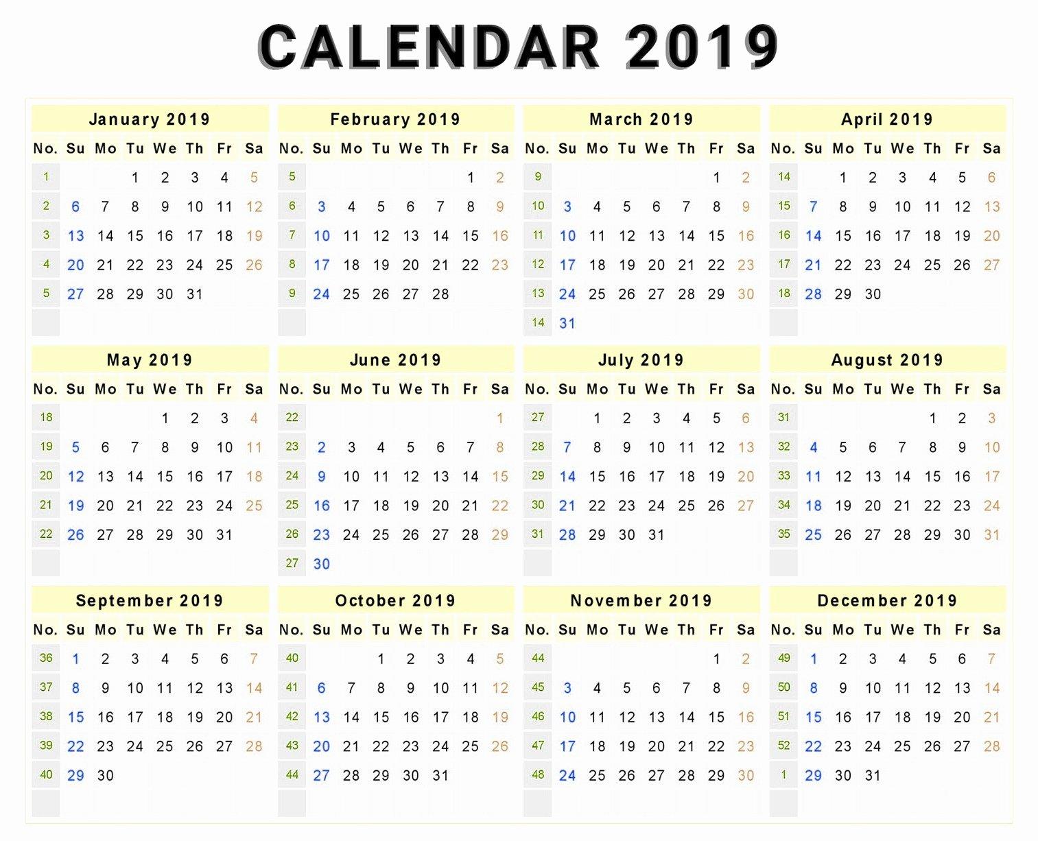 Microsoft Calendar Templates 2019 Unique 2019 Calendar Year at A Glance Printable