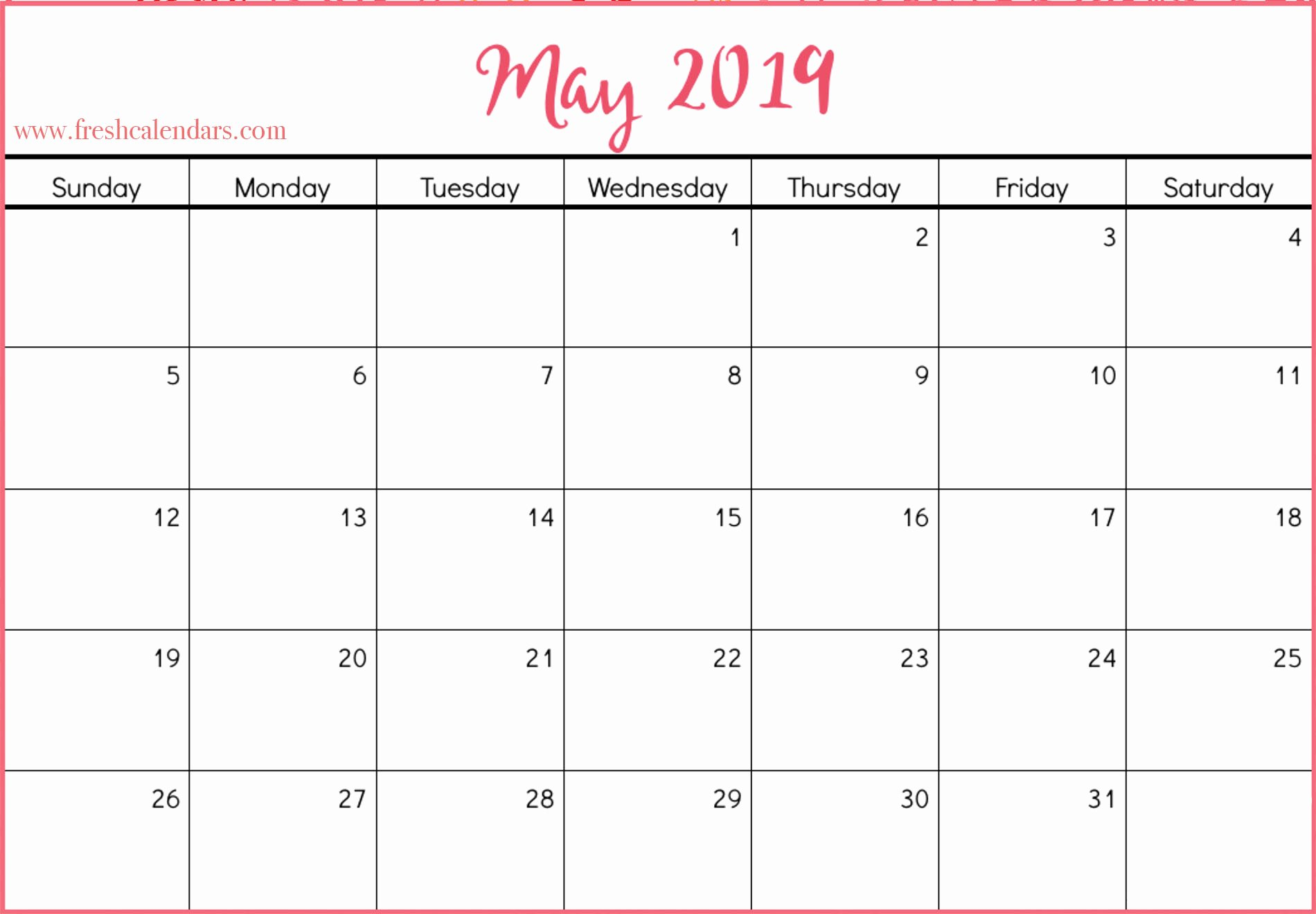 Microsoft Calendar Templates 2019 Unique May 2019 Calendar Printable