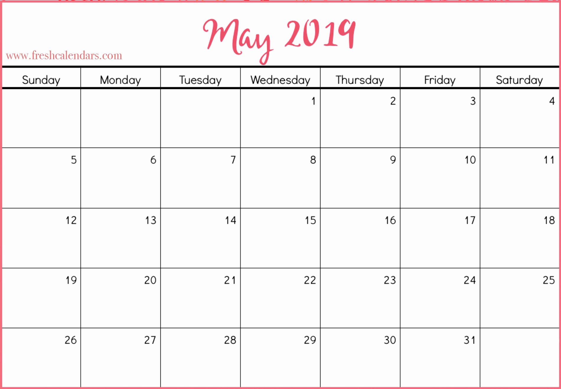 Microsoft Calendar Templates 2019 Unique May 2019 Calendar Printable