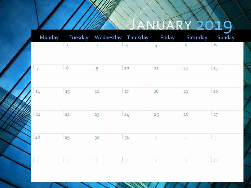 Microsoft Office Calendar Templates 2019 Beautiful 2019 Calendar Mon Sun