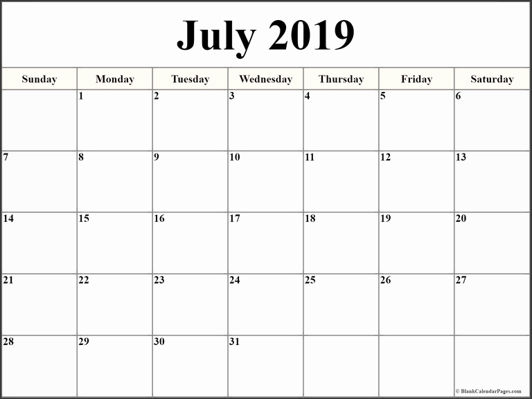 Microsoft Office Calendar Templates 2019 Elegant Blank July 2019 Calendar Template In Printable Editable