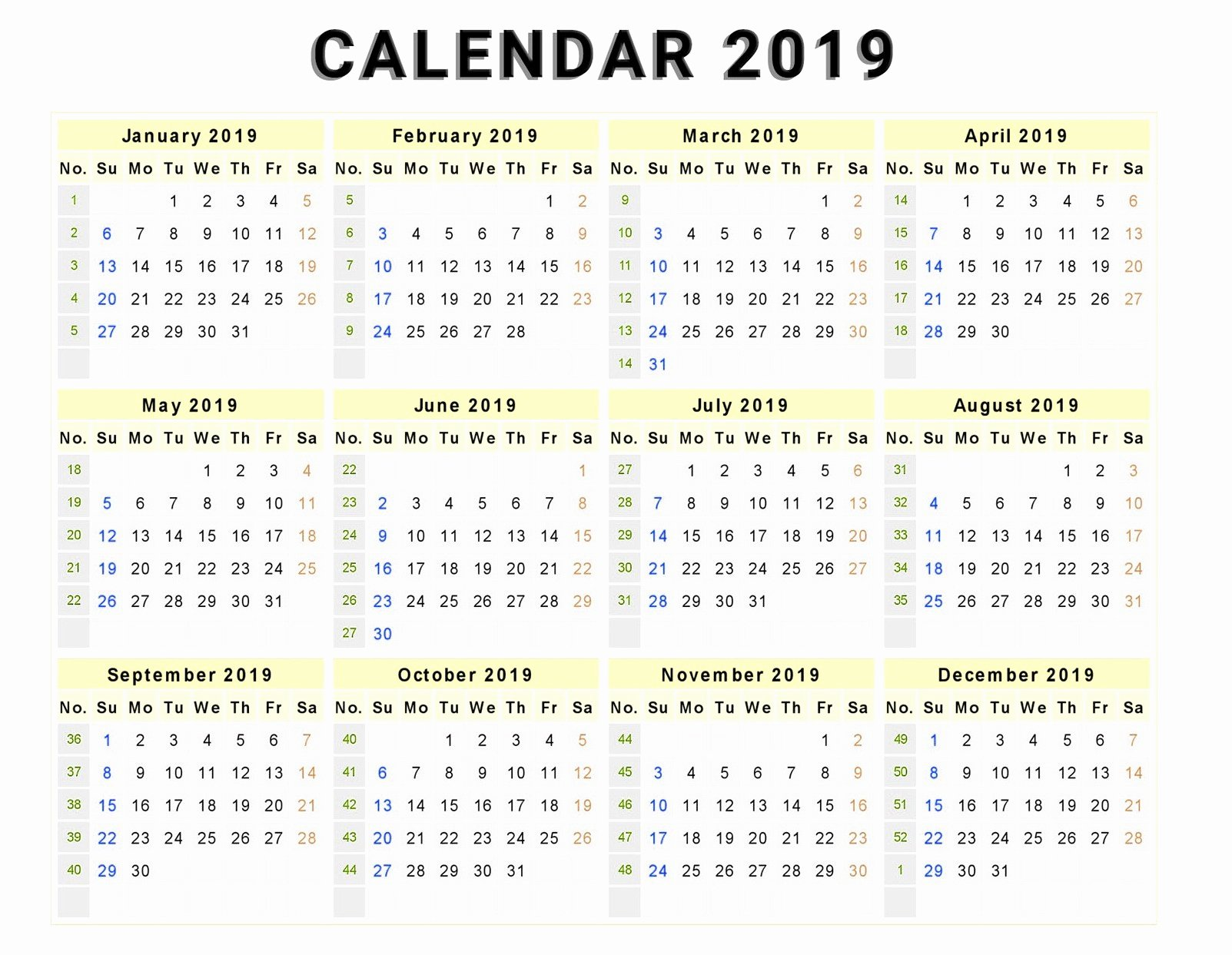 Microsoft Office Calendar Templates 2019 Elegant Calendar 2019 Print Out