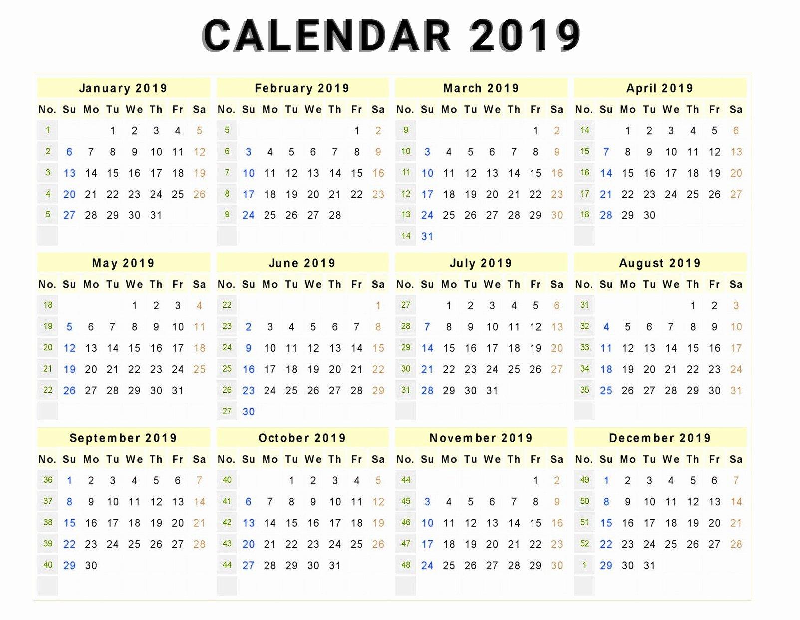 Microsoft Office Calendar Templates 2019 Elegant Calendar 2019 Print Out