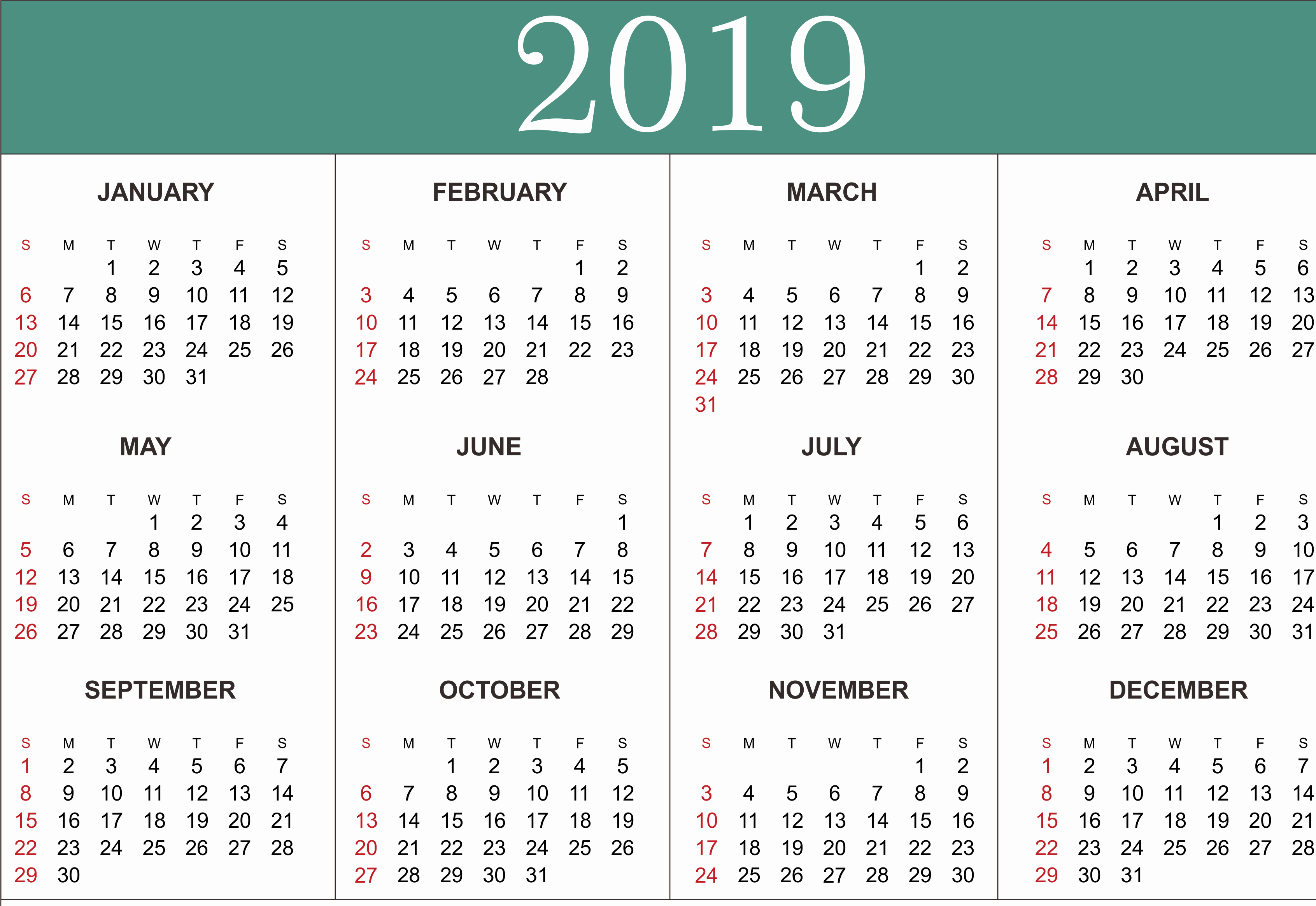Microsoft Office Calendar Templates 2019 Elegant Free Yearly Calendar 2019 Printable Blank Templates