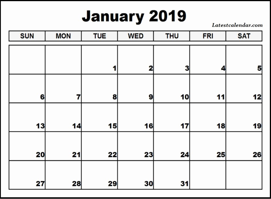 Microsoft Office Calendar Templates 2019 Fresh Free Printable January 2019 Blank Templates