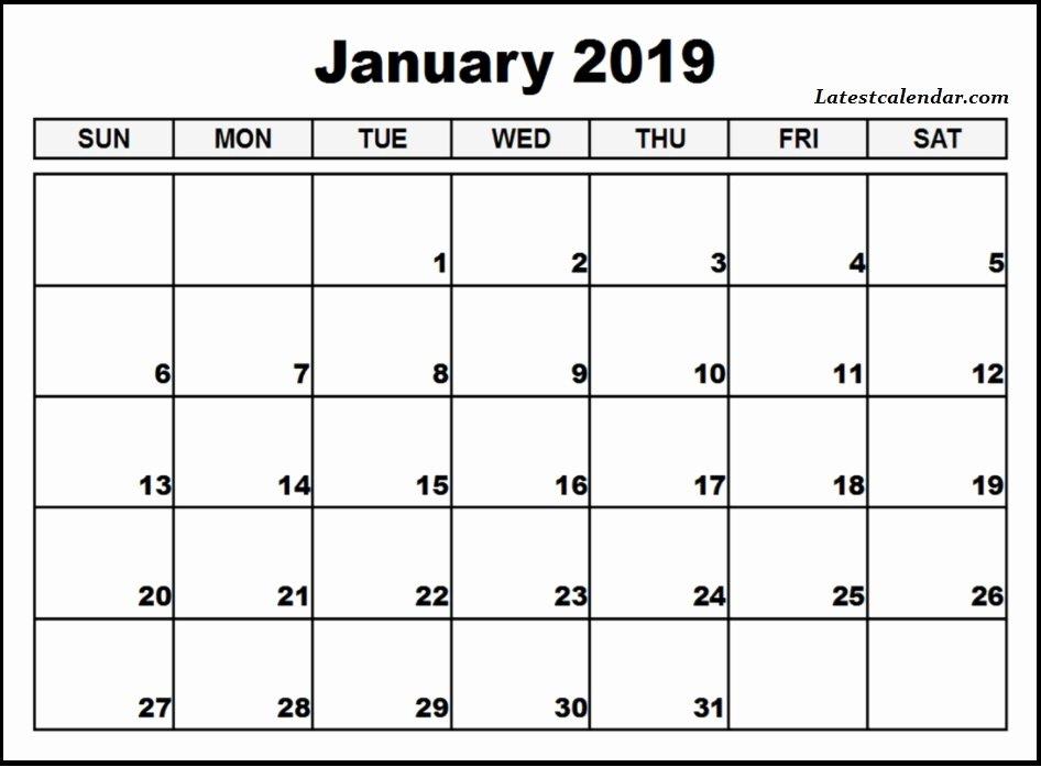 Microsoft Office Calendar Templates 2019 Fresh Free Printable January 2019 Blank Templates