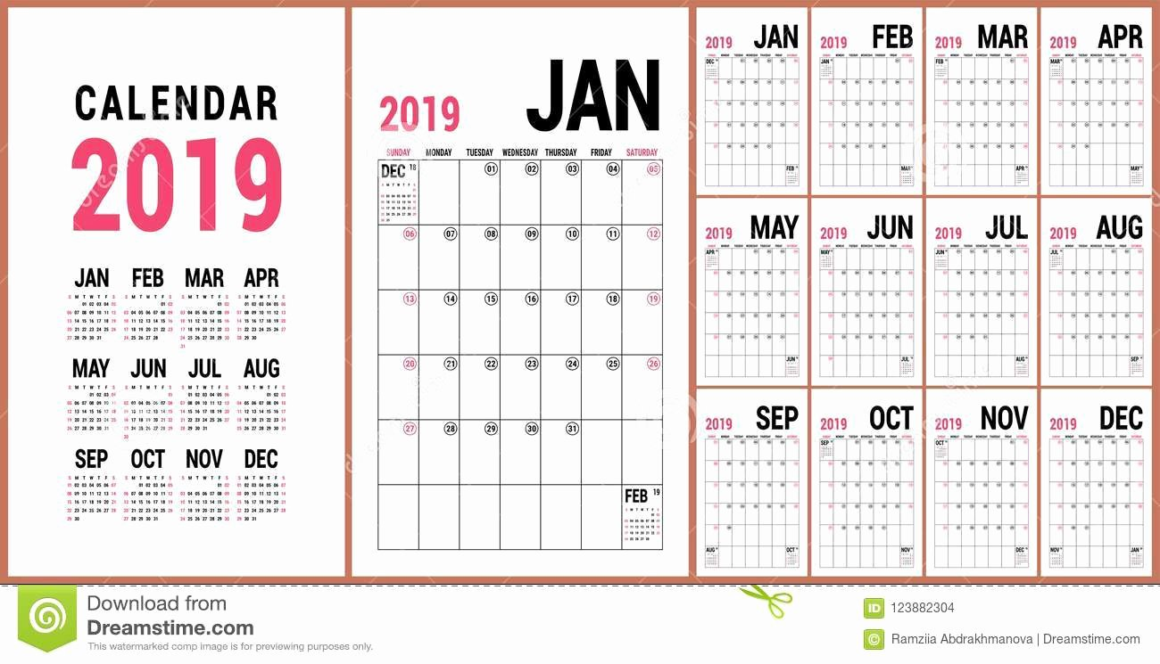 Microsoft Office Calendar Templates 2019 New Planner 2019 English Calendar Template Vector Calender