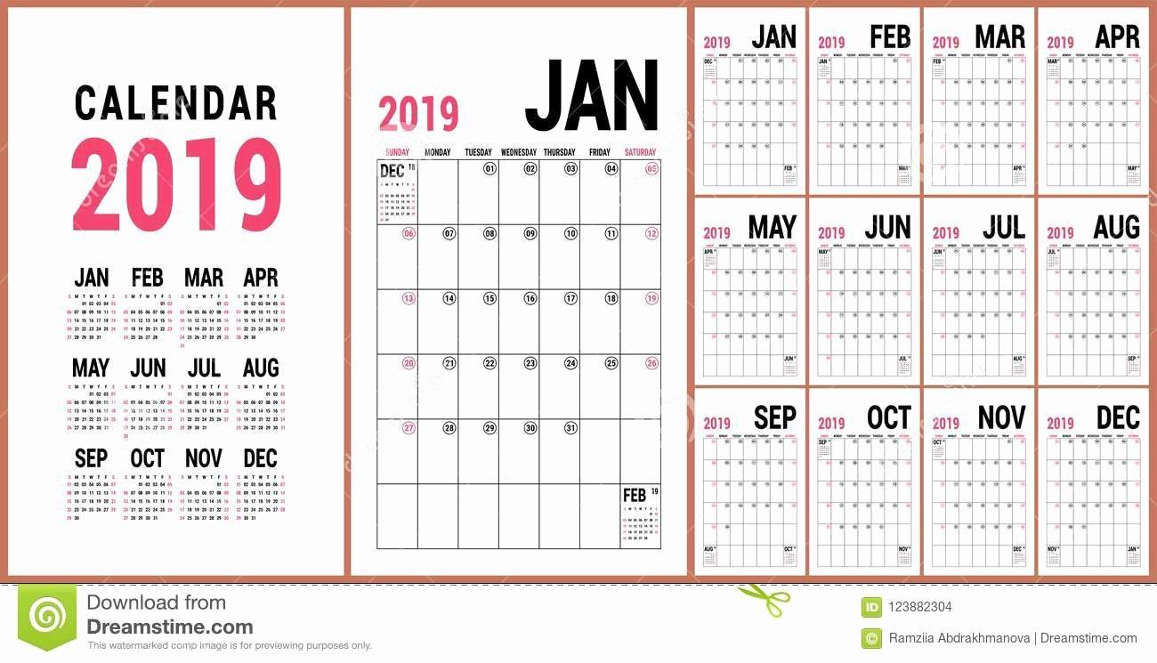 Microsoft Office Calendar Templates 2019 New Planner 2019 English Calendar Template Vector Calender