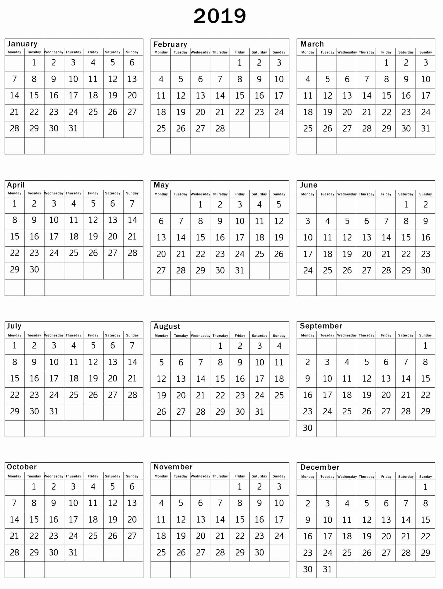 Microsoft Office Calendar Templates 2019 Unique Print Calendar 2019 Free