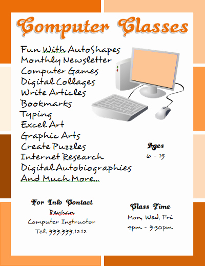 Microsoft Word Flyer Template Best Of Puter Classes Flyer Template Created with Microsoft