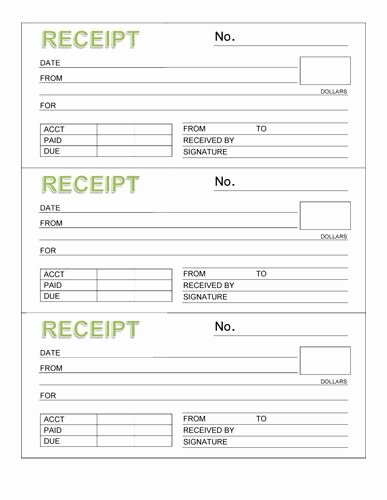 Microsoft Word Receipt Template Awesome Rent Receipt Book Three Receipts Per Page Microsoft