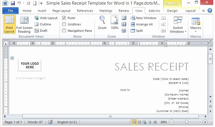 Microsoft Word Receipt Template Unique Simple Sales Receipt Template for Word In E Page