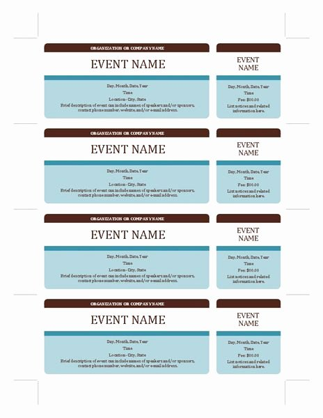Microsoft Word Ticket Template Beautiful event Tickets Templates Fice