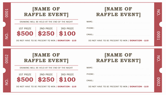Microsoft Word Ticket Template Beautiful Raffle Ticket Templates 5 Free Printable Templates