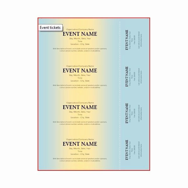Microsoft Word Ticket Template Elegant the Best event Ticket Template sources