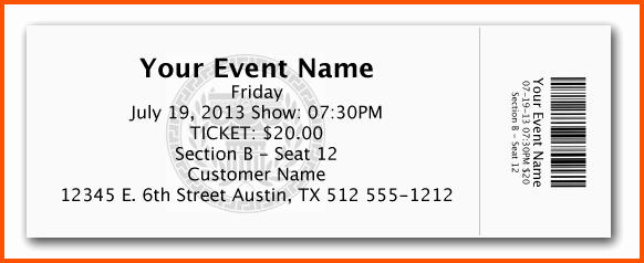 Microsoft Word Ticket Template New 12 Microsoft Word Ticket Template