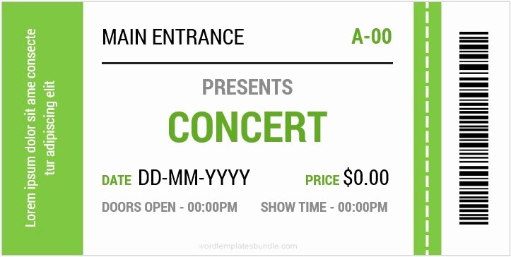 Microsoft Word Ticket Template New Concert Ticket Templates for Ms Word