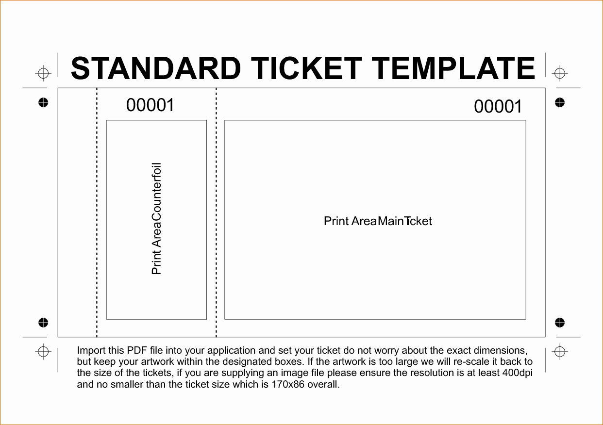 Microsoft Word Ticket Template New Ticket Template Word