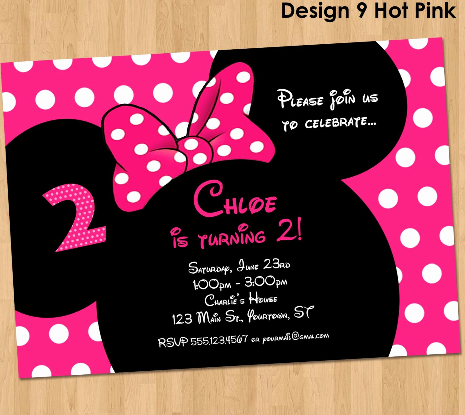 Minnie Mouse Birthday Invitations Awesome Minnie Mouse Birthday Invitation Printable Party Custom